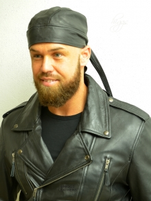 Higgs Leathers LAST FEW!  Bandito (unisex black leather bandanna)
